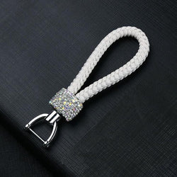 Crystal Braided White Rope Key Chain - Pretty Fab Things