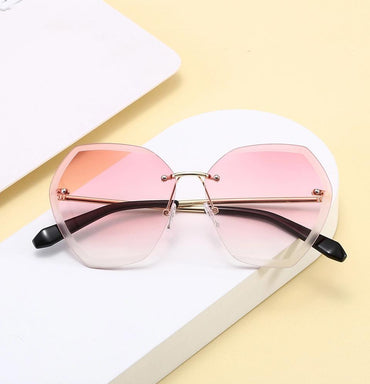 Fashionista Pink Rimless Large Octagon Sunglasses - Pretty Fab Things
