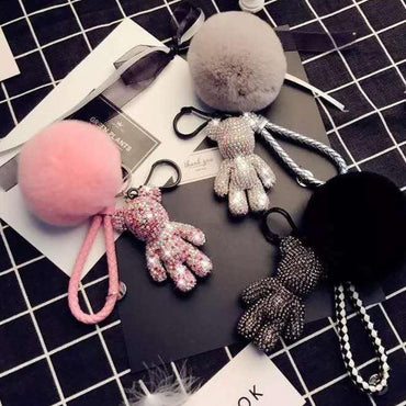BOMGOM Black Crystal Bear with Red Heart Key Chain - Pretty Fab Things