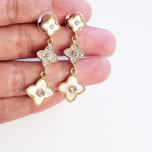 Crystal Clover White Pearl Drop Earrings - Pretty Fab Things