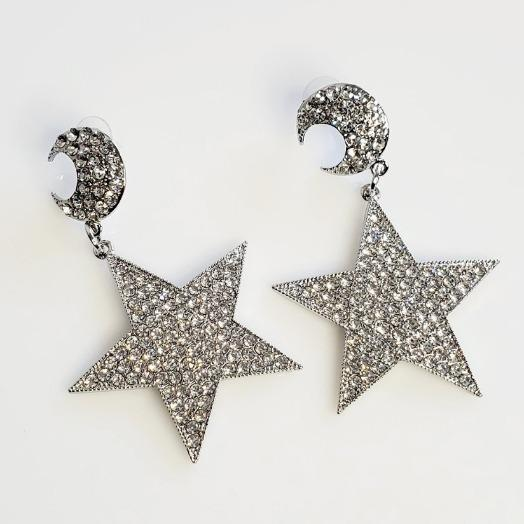 Baby I'm A Star Silver Rhinestone  Earrings - Pretty Fab Things