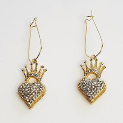 Crystal Gold Crown Heart Earrings - Pretty Fab Things