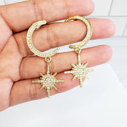 Gold Moon & Stars Crystal Drop Earrings - Pretty Fab Things