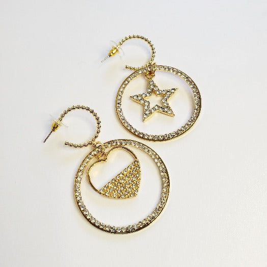 Stars & Hearts Hoop Earrings