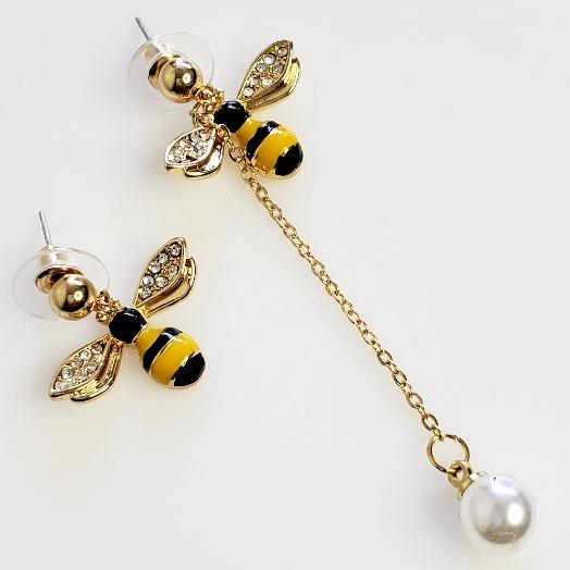 Crystal Gold Plated Enamel Bee Stud Earrings - Pretty Fab Things