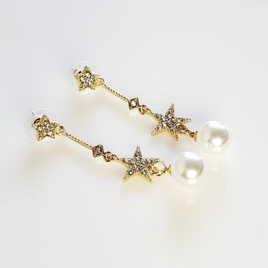 Pearl & Stars Gold Crystal Drop Star Earrings - Pretty Fab Things