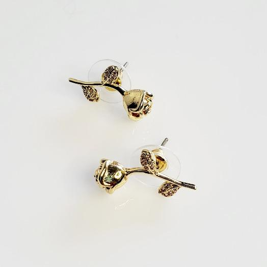 Crystal Rose Stud Flower Earrings - Pretty Fab Things