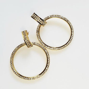 Heaven's Gold Hoop Crystal Earrings - Pretty Fab Things