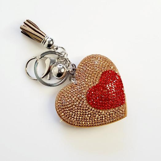 Heart Champagne Rhinestone Key Chain - Pretty Fab Things