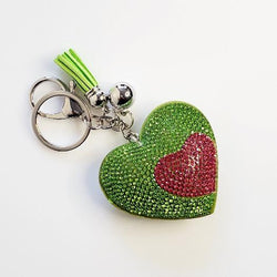 Heart Green Rhinestone Key Chain - Pretty Fab Things