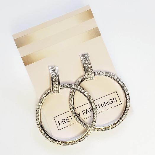 Heaven's Silver Hoop Crystal Earrings - Pretty Fab Things
