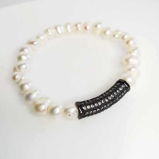 Freshwater Pearl Hematite White Stretch Bracelets - Pretty Fab Things