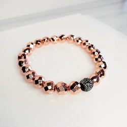 Rose Gold Pave Metallic Magnetic Stretch Bead Bracelets | Pretty Fab Things