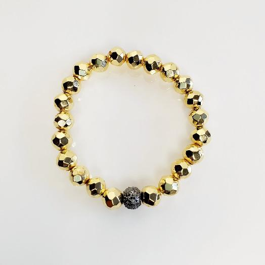 Gold Pave Metallic Magnetic Stretch Bead Bracelets | Pretty Fab Things