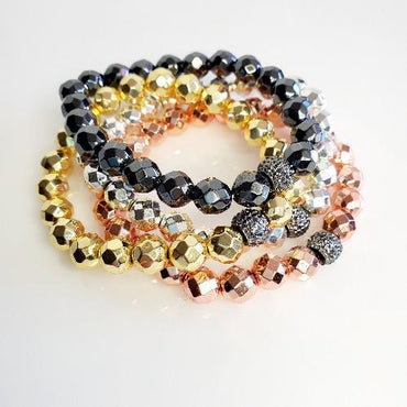 Pave Metallic Magnetic Stretch Bead Bracelets | Pretty Fab Things