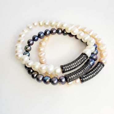 Freshwater Pearl Hematite Stretch Bracelets - Pretty Fab Things