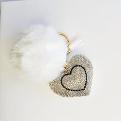 White Pompom Rhinestone Heart Tassel Key Chain - Pretty Fab Things