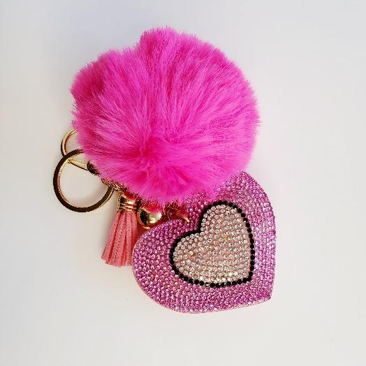 Fuchsia Pompom Rhinestone Heart Tassel Key Chain - Pretty Fab Things