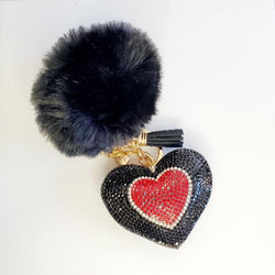 Black Pompom Rhinestone Heart Tassel Key Chain - Pretty Fab Things