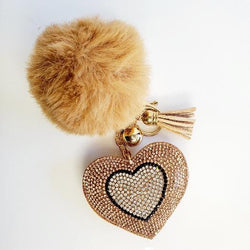 Champagne Pompom Rhinestone Heart Tassel Key Chain - Pretty Fab Things