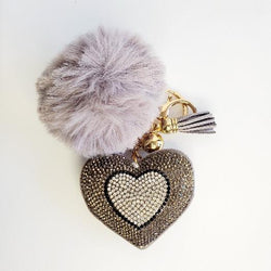 Gray Pompom Rhinestone Heart Tassel Key Chain - Pretty Fab Things
