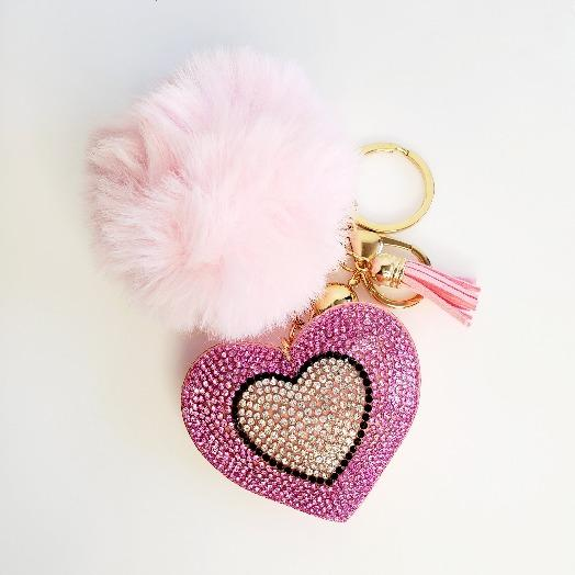 Pink Pompom Rhinestone Heart Tassel Key Chain - Pretty Fab Things