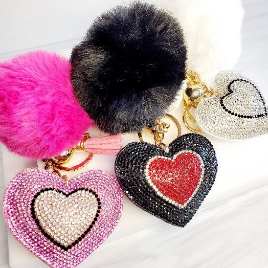 Pompom Rhinestone Heart Tassel Key Chain - Pretty Fab Things