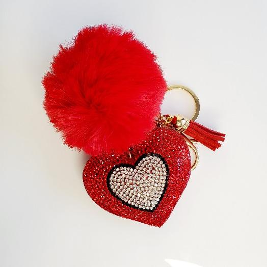 Red Pompom Rhinestone Heart Tassel Key Chain - Pretty Fab Things