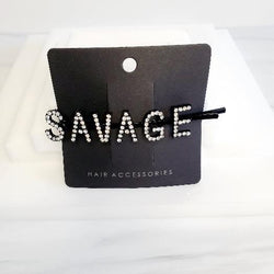 I'm Extra Black Word Savage Rhinestone Hair Clips - Pretty Fab Things