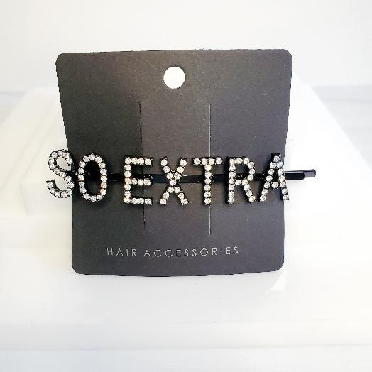 I'm Extra Black Word So Extra Rhinestone Hair Clips - Pretty Fab Things