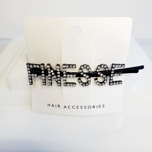 I'm Extra Black Word Finesse Rhinestone Hair Clips - Pretty Fab Things
