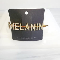 Gold Rhinestone Melanin Word Hair Clips & Accessories - Pretty Fab Things