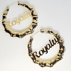 LATIFAH Gold Royalty Bamboo Hoop Earrings - Pretty Fab Things