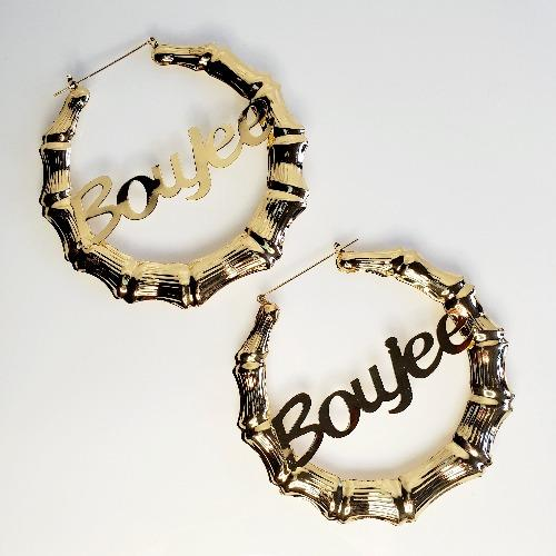 LATIFAH Gold Boujee Bamboo Hoop Earrings - Pretty Fab Things