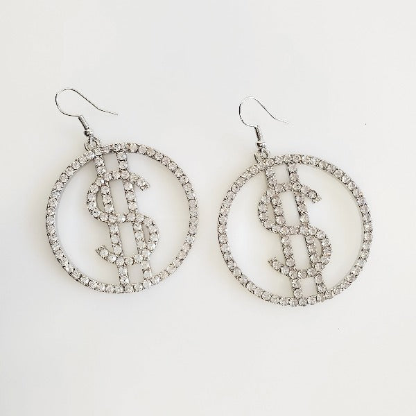 Dollar Sign Silver Rhinestone Hoop Earrings | Pretty Fab Things