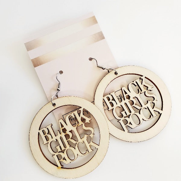 Black Girls Rock Wood Hoop Earrings | Pretty Fab Things