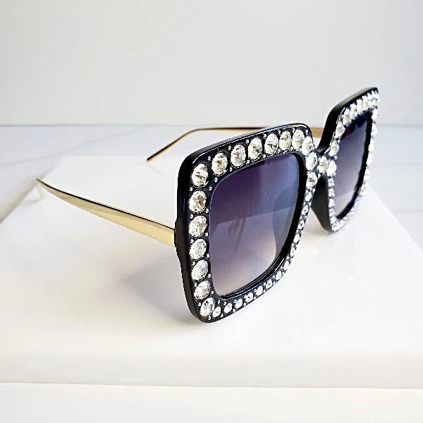 Shine Bright Black Rhinestone Large Sunglasses Sunglasses  | Pretty Fab Thing