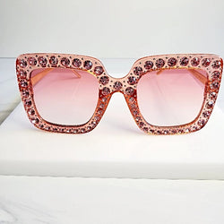 Shine Bright Peach Rhinestone Large Sunglasses Sunglasses  | Pretty Fab Thing