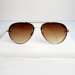 Bronze Wire Large Glam Aviator Sunglasses - Pretty Fab Things