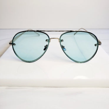 Green Wire Large Glam Aviator Sunglasses - Pretty Fab Things