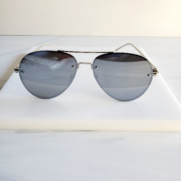 Black Wire Large Glam Aviator Sunglasses - Pretty Fab Things