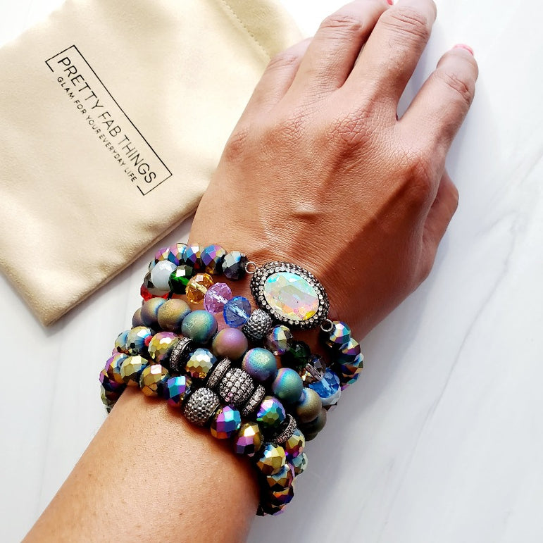 Rainbow Dreams Pave 5 Piece Handmade Bead Bracelet Set - Pretty Fab Things