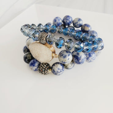 Sapphire Beads Druzy Stone 3 Piece Bracelet | Pretty Fab Things