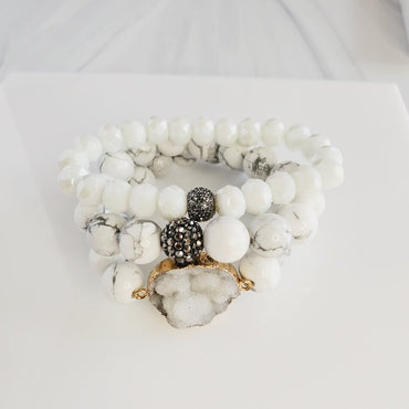 Winter White Druzy 3 Piece Crystal Pave Bracelet Set | Pretty Fab Things