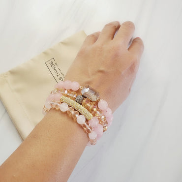 Pretty in Pink four piece natural & pave stone bead bracelet set