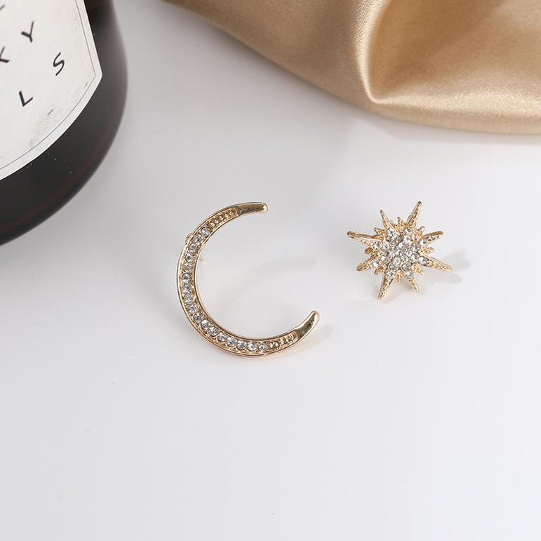 Moon & Stars Stud Earrings Drop Earrings Gold | Pretty Fab Things