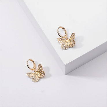Gold Crystal Butterfly Huggie Earrings | Pretty Fab Things