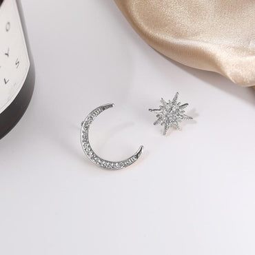 Moon & Stars Stud Earrings Drop Earrings Silver Pretty Fab Things