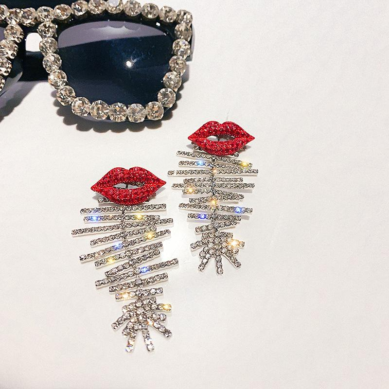 Red Lip Crystal Fashion Earrings - Pretty Fab Things