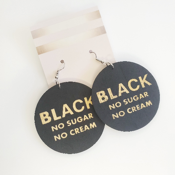 Black No Sugar No Cream Wood Hoop Earrings | Pretty Fab Things